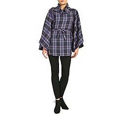 Feverfish - Purple check belted cape