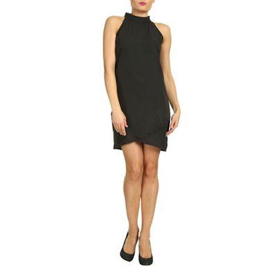 Ayarisa Black high neck sleeveless wrap shift - . -