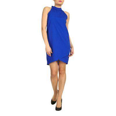 Ayarisa Blue high neck sleeveless wrap shift - . -