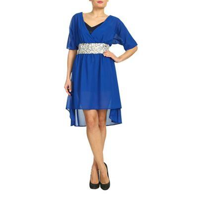 Ayarisa Blue sparkle waist chiffon dress - . -