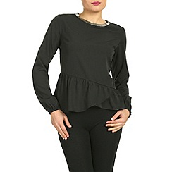 Ayarisa - Black embellished neck peplum top