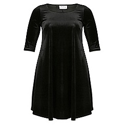 Threads - Black velvet 3/4 sleeve swing dress