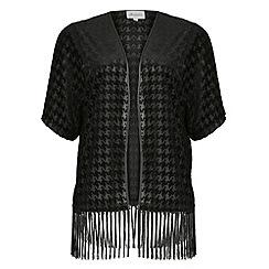 Threads - Black dogtooth velvet kimono