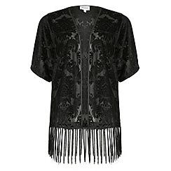 Threads - Black baroque velvet kimono