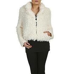 Izabel London - Cream faux furry short long sleeved jacket