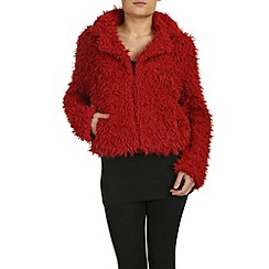Izabel London - Dark red faux furry short long sleeved jacket