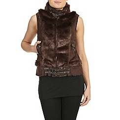 Izabel London - Brown polyester sleeveless faux fur zipped jacket
