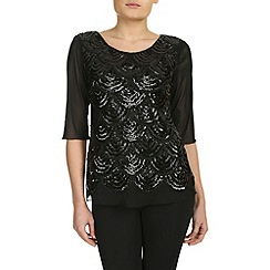 Izabel London - Black sleeveless sequin dip hem top