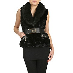 Mandi - Black belted faux fur gilet with zips
