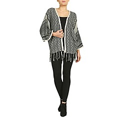 Izabel London - Black knitted kimono with fringe