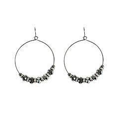 Ziba - Metallic alvara hoop earrings