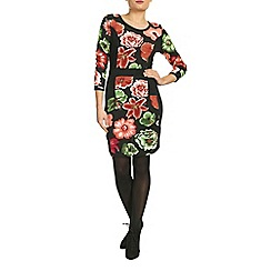 Indulgence - Black floral print bodycon dress