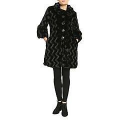 Izabel London - Black 3/4 sleeve faux fur coat