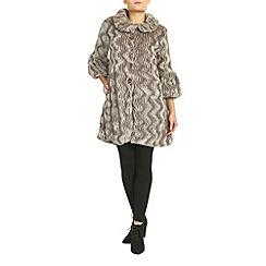 Izabel London - Beige 3/4 sleeve faux fur coat