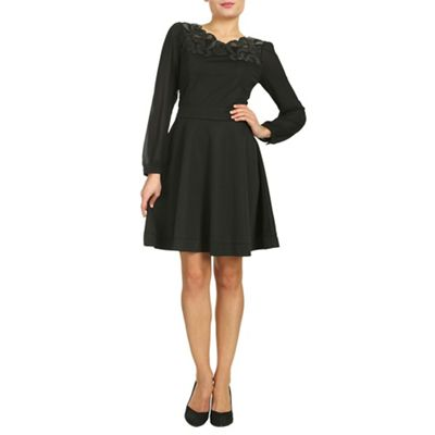 Cutie Black chiffon sleeves dress - . -