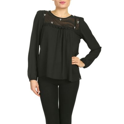 Cutie Black chiffon loose fit top - . -