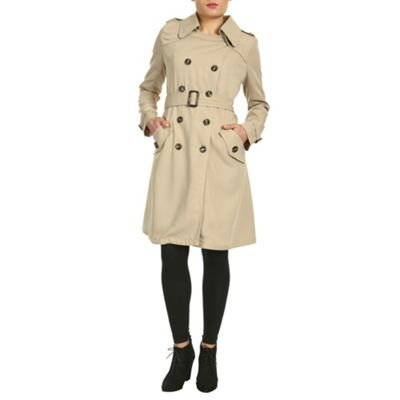 Cutie Beige fitted trench coat - . -