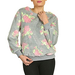 Jumpo London - Grey rose print fluffy jumper