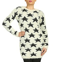 Jumpo London - Cream star print fluffy jumper