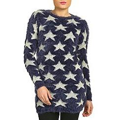 Jumpo London - Navy star print fluffy jumper