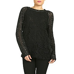 Jumpo London - Black embroidered sequin jumper