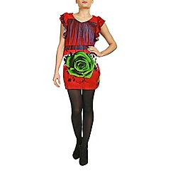Jumpo London - Red lace rose print tunic