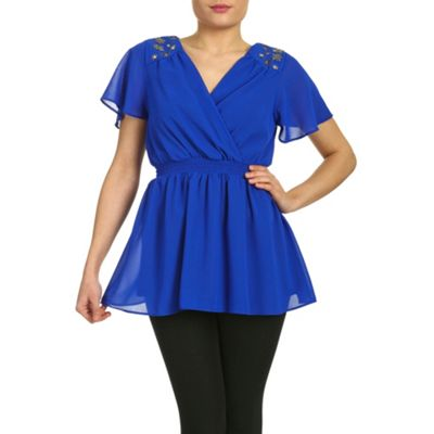 Ayarisa Blue anthea embellished detail grecian top - . -
