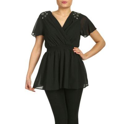 Ayarisa Black anthea embellished detail grecian top - . -