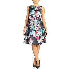 Jolie Moi - Black empire waist floral dress