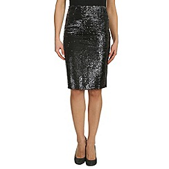 Cutie - Black sequinned pencil skirt