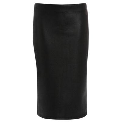 Damned Delux Black black crackle print pu pencil skirt - . -