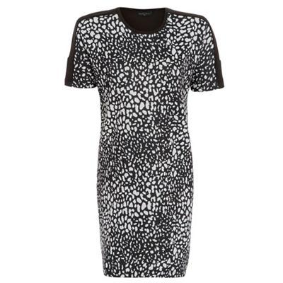 Damned Delux Black animal scuba sublimation dress - . -