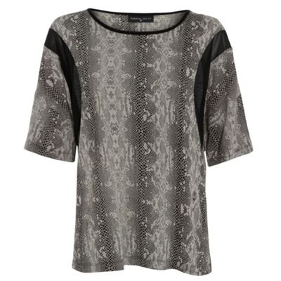Damned Delux Grey nake tee with airtex panel - . -