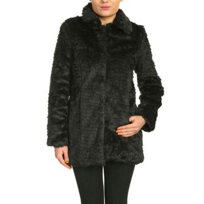 Chase 7 Black long sleeve faux fur coat - . -