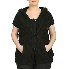 Samya - Black sleeveless button hooded knitted