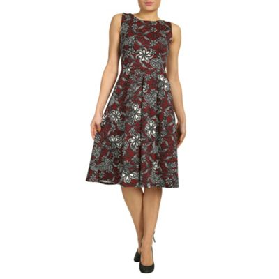 Burgundy closet floral swirl scuba midi dress - . -