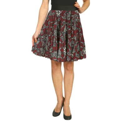 Burgundy closet floral swirl pleated skirt - . -