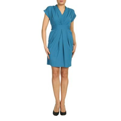 Closet Blue blu v neck pleat dress - . -