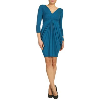 Closet Blue blu jersey v neck gathered dress - . -
