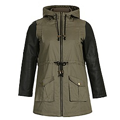 Samya - Khaki cotton long sleeves parka hooded jacket