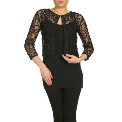 Chase 7 Black delicate lace cardigan - . -