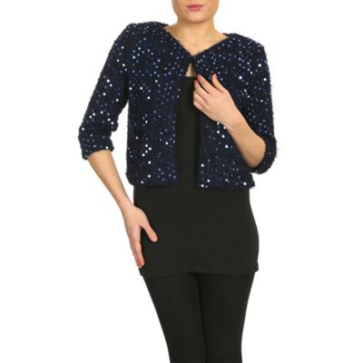 Chase 7 Blue sequin jacket with one button - . -