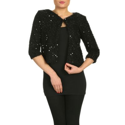 Chase 7 Black sequin jacket with one button - . -