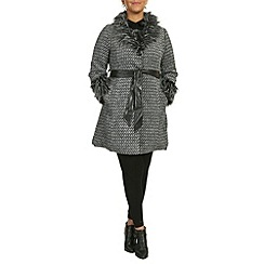 Samya - Grey faux fur trim woven coat