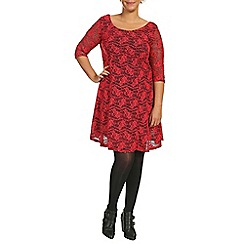 Samya - Red 3/4 sleeve fit & flare lace dress