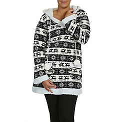 Samya - Black fleece trimmed printed jersey long
