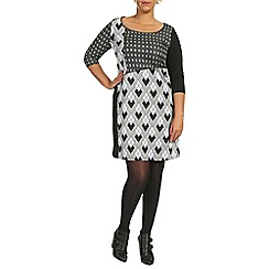 Samya - Black 3/4 sleeve print tunic dress