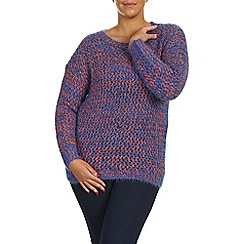 Samya - Blue long sleeve multi knit pullover