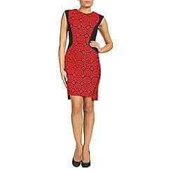 Jolie Moi - Red crochet lace insert zipper dress