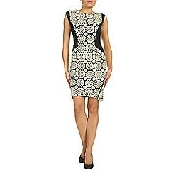 Jolie Moi - Beige crochet lace insert zipper dress